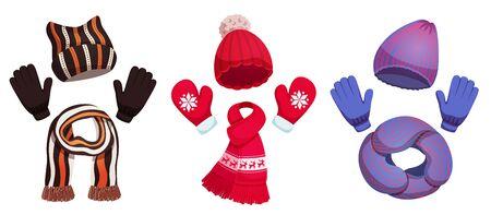 Collection saisonnière de chapeaux d'écharpe d'hiver avec trois ensembles de vêtements colorés pour temps froid sur illustration vectorielle fond blanc Vecteurs
