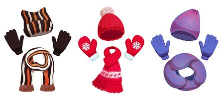 Seasonal winter scarf hats collection with three sets of colourful cold weather clothing on blank background vector illustration