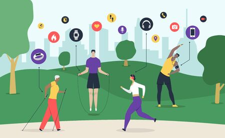 Sport gadget composition with people working out outdoors and circle icons of wearable gadgets with cityscape vector illustration