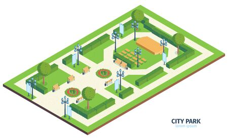Isometric city park composition with text urban public garden with benches bushes and outdoor performance stage vector illustration