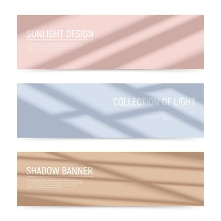 Three realistic horizontal banners with shadows on colorful surface isolated vector illustration