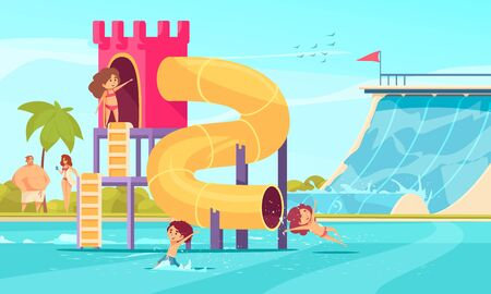 Traditional tall and super fun tube family water slides in amusements aqua park comics composition vector illustration