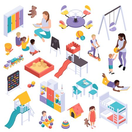 Kindergarten isometric set with isolated images of play equipment toys and human characters on blank background vector illustration