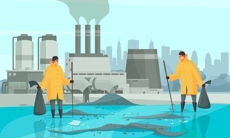 Nature water pollution composition with human characters cityscape and factory buildings background with dirty water surface vector illustration Foto de archivo - 130854564