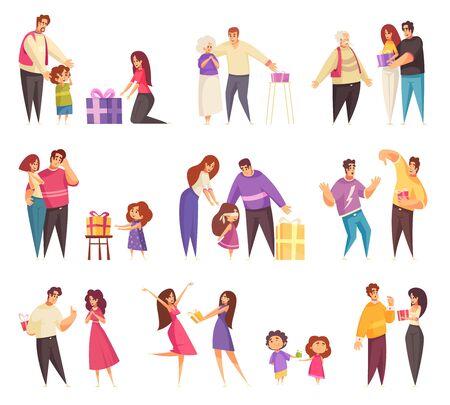 Cadeau présent donnant un ensemble d'icônes isolées avec des personnages de griffonnage plats de personnes dans différentes relations illustration vectorielle