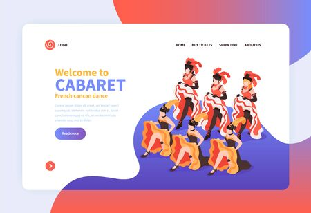 Welcome to cabaret isometric landing page with group of dancing women wearing festival costumes with feathers vector illustration