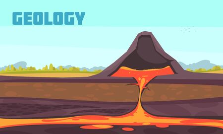 Geologist composition with flat scenery and profile view of underground of the volcano with magma flow vector illustration