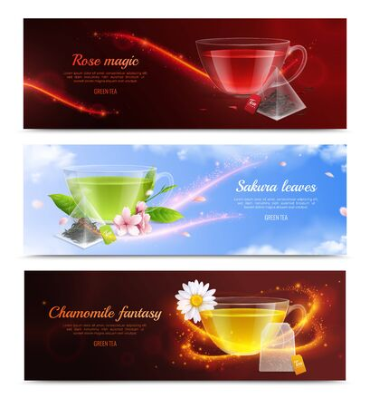 Tea brewing bag realistic banner set with rose magic sakura leaves and chamomile fantasy headlines vector illustration Ilustrace