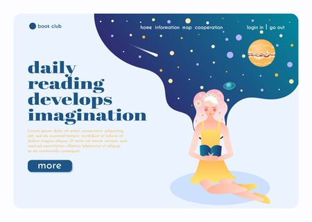 Online book club landing page flat composition with reading flower girl imagining herself in universe vector illustration