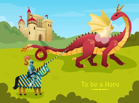 Medieval knight hero duels huge fire breathing dragon outside royal castle flat  fairy tale scene vector illustration