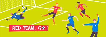 Football game background composition with editable text and football pitch with flat characters of team players vector illustration