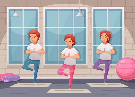 Kids yoga background with indoor training symbols cartoon vector illustration