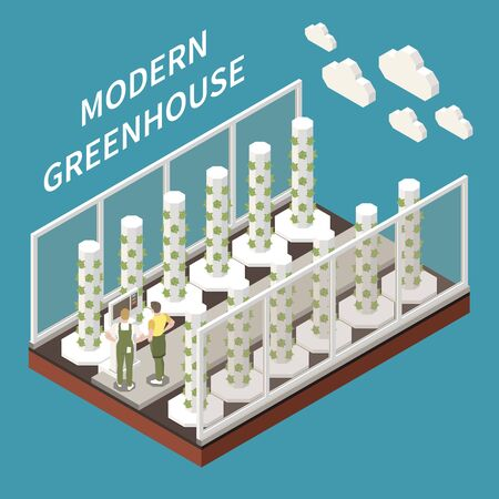 Modern greenhouse farming isometric concept with agriculture symbols vector illustration 일러스트