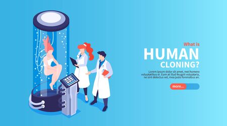 Human cloning isometric landing page with scientists watching female human being in big glass capsule vector illustration