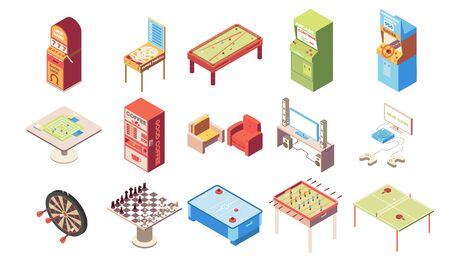 Recreation room isometric set with chess and table tennis isolated vector illustration  イラスト・ベクター素材
