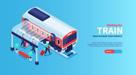 Isometric railway station horizontal banner with shelter shed passengers and suburban train car with more button vector illustration