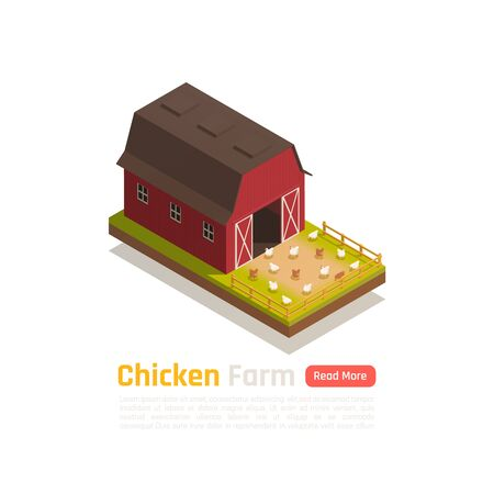 Poultry raising traditional barn system farm with free run grass fed chicken outdoor isometric composition vector illustration