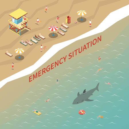 Beach lifeguards with loudspeakers warning people about shark 3d isometric vector illustration Stock Illustratie