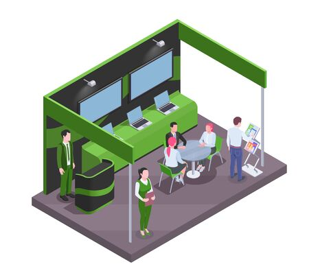 Visitors and staff communicating near expo stand with tv sets and laptops isometric composition 3d vector illustration