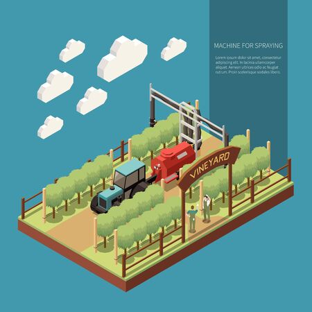 Vine yard  isometric composition with machine for spraying moving between rows of grapes vector illustration