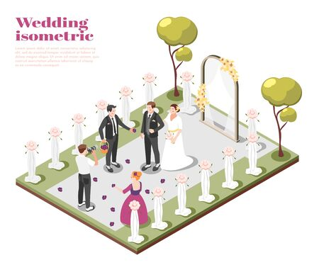 Marriage isometric composition with couple getting married on outdoor wedding ceremony vector illustration