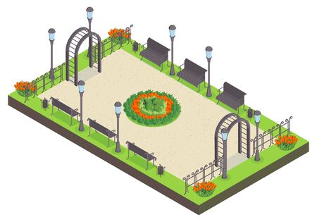 Isometric city park composition with view of public garden with benches flower bed lights and fence vector illustration Standard-Bild - 131162559