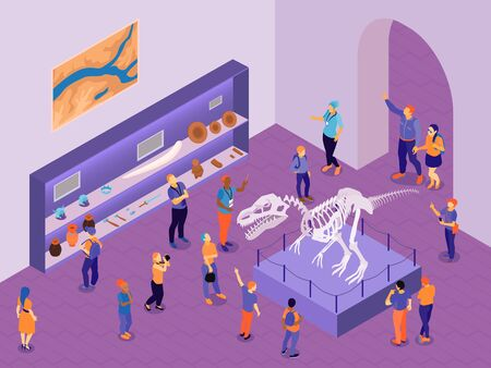 Isometric guide excursion to historical museum composition with indoor view of exhibition hall with visitor characters vector illustration Çizim