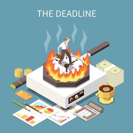 Time management concept with deadline at work symbols isometric vector illustration Illustration