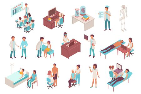 Medical staff isometric icons set of students nurse and interns working with patients  isolated vector illustration Иллюстрация