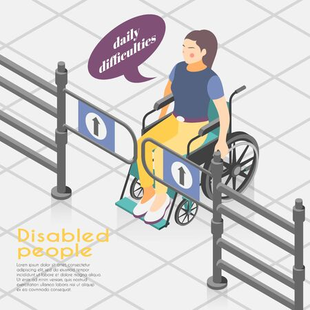 Disabled people difficulties isometric background composition with wheelchair bound woman unable to open entrance gates vector illustration