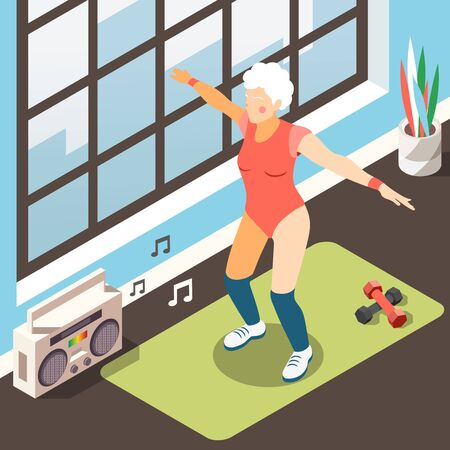 Longevity isometric background with modern elderly woman in suit for fitness doing physical exercises under musical accompaniment vector illustration