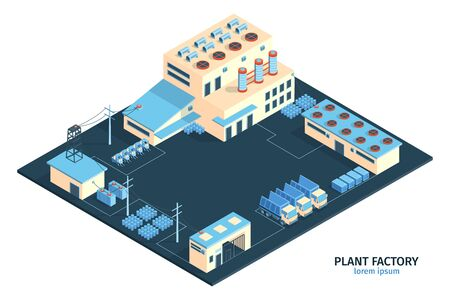 Isometric industrial plant factory composition with editable text and range of plant buildings with cargo trucks vector illustration