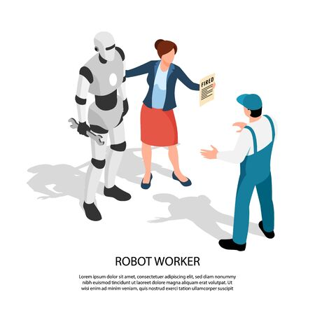 Robot worker isometric composition with female manager standing near android and showing sign to dismissed worker vector illustration