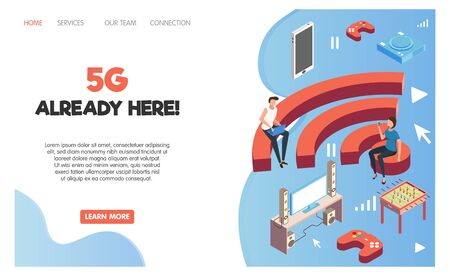 Recreation room isometric page design with wifi zone  symbols vector illustration