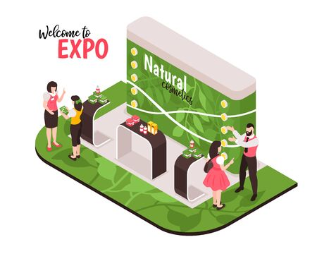 Isometric expo stand composition with people characters on exhibition booth and tables with natural cosmetic products vector illustration