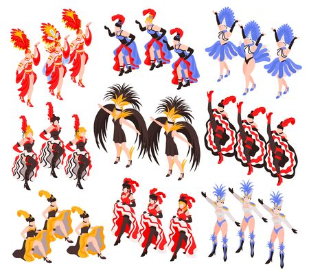 Cabaret show set of dancing women groups with colorful exotic cancan dress and feathers  isometric vector illustration