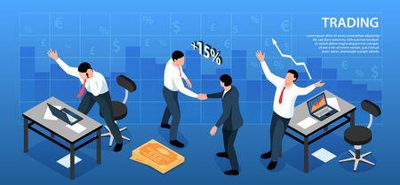 Composición de fondo horizontal de intercambio de mercado de valores isométrico con signos de moneda y lugares de trabajo de comerciantes con ilustración de vector de texto
