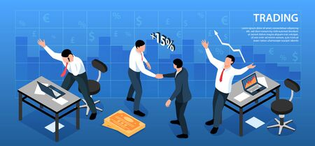 Isometric stock market exchange trading horizontal background composition with currency signs and traders workplaces with text vector illustration