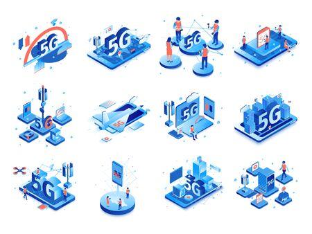 Internet isométrico 5g con composiciones aisladas de iconos, pictogramas e imágenes de aparatos electrónicos con personas ilustración vectorial