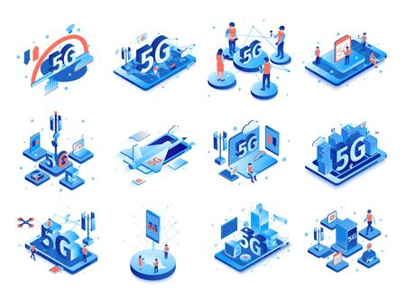 Isometric 5g internet set with isolated compositions of icons pictograms and images of electronic gadgets with people vector illustration  向量圖像