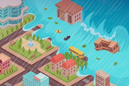 Flood disaster isometric composition with view of city being engulfed by the tidal wave with rain vector illustration Фото со стока - 132820482
