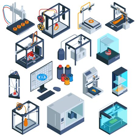 Isometric 3d printing set of isolated 3d printer images with computer modelling software and processed materials vector illustration Çizim