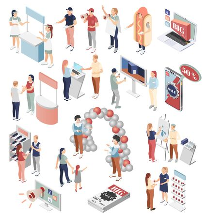 Promoter isometric icons set of people involved in hiring advertising of quality goods and big sale in store and outdoors isolated vector illustration 스톡 콘텐츠 - 132728728