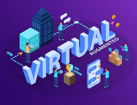 Virtual augmented reality experience software allowing users visualizing objects with tablets mobiles isometric info graphic composition vector illustration