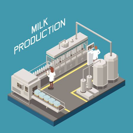 Milk factory concept with new technology symbols isometric vector illustration