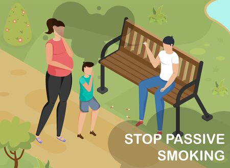 Isometric background with man smoking on bench in park and pregnant woman and child going by 3d vector illustration