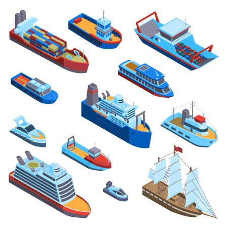 Isometric water transport set with isolated images of modern and vintage sea vessels on blank background vector illustration