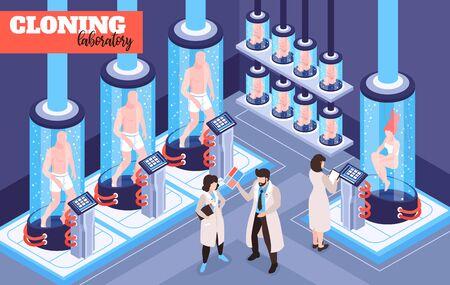 Fondo futurista de laboratorio de clonación humana con hombres, mujeres y seres bebés que crecen en cápsulas de vidrio con ilustración de vector isométrico fluido