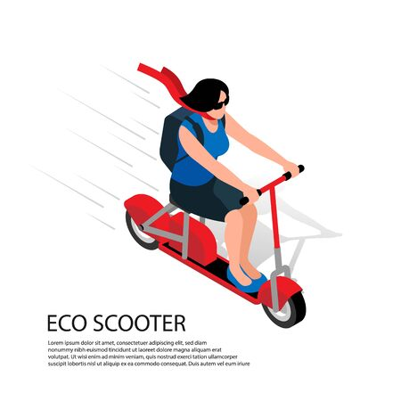 Eco scooter isometric illustration with young woman driving at high speed on personal transport vector illustration   イラスト・ベクター素材