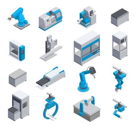 Industrial machine manufacturers equipment elements isometric icons set with conveyor robotic arm control panel isolated vector illustration